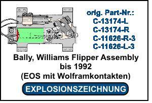 Bally-Williams Flipper Assembly bis 1992 EOS mit Wolframkontakten
